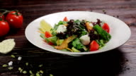 Salad with salmon. video
