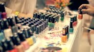 Sale a large collection of nail polish with a fake nails to better assess video