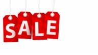 Sale animation with red tags for shopping sales and promotions video
