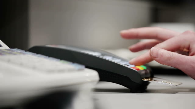 Sale, consumerism: Credit card payment terminal video