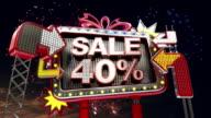 Sale sign 'SALE 40 percents' in led light billboard promotion video