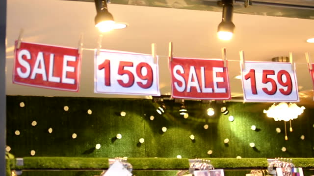 Sale text in shopping mall. video