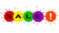Sale. Text with colored blotches. video