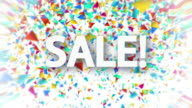Sale white sign with falling confetti animation video