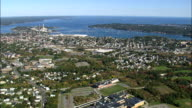 Salem Harbour  - Aerial View - Massachusetts,  Essex County,  United States video