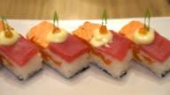 salmon and tuna sushi - japanese food video
