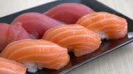 salmon and tuna sushi video