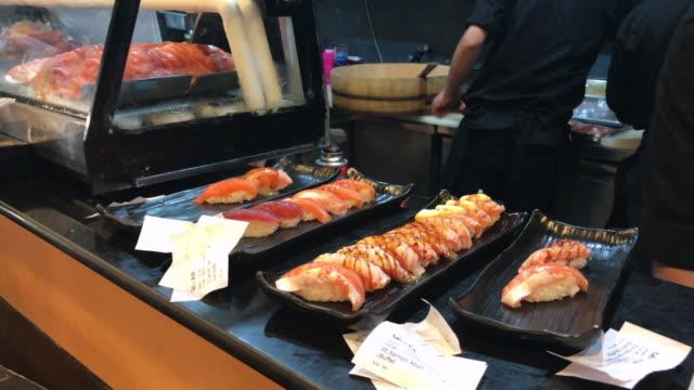 Salmon in various menu , Bangkok , Thailand. video