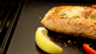 Salmon on barbecue. video