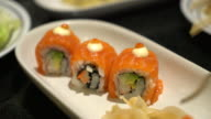 salmon roll sushi - japanese food video