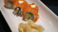 salmon roll sushi video