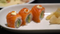 salmon roll sushi video