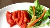 salmon sashimi video