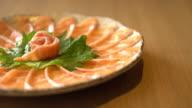 salmon sliced sashimi video