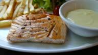 salmon steak video