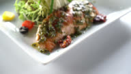 Salmon steak video