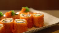 salmon sushi and salmon maki video