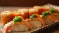 salmon sushi and salmon maki video