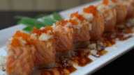 salmon sushi rolls - japanese food video
