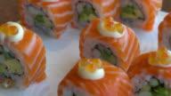 Salmon sushi video