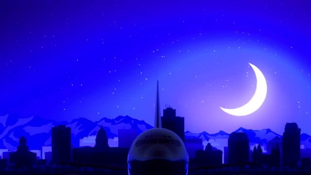 Salt Lake City Utah USA America Airplane Take Off Moon Night Blue Skyline Travel video