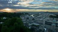 Salzburg night view, time-lapse video