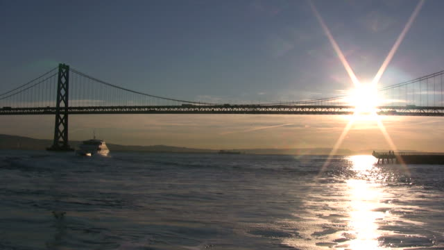 (HD1080i) San Francisco: Boat Under Bay Bridge -Time Lapse- video