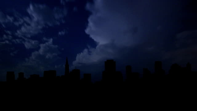 San Francisco city skyline night storm. video