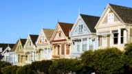 San Francisco row of painted Victorian houses 4k video video