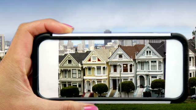 San Francisco's Painted Ladies through a Mobile Phone video
