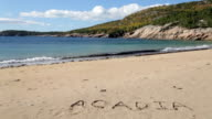 Sand Beach with Acadia written in the_sand video