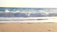 Sand, ocean water and sky beach scenery video