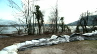 Sandbags On The Shore Of A River video