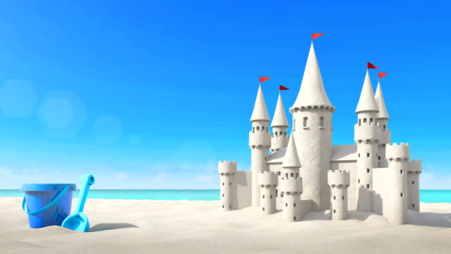 Sandcastle beach and toy on bright sky. video