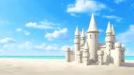 Sandcastle beach on bright sky. 3d rendering video