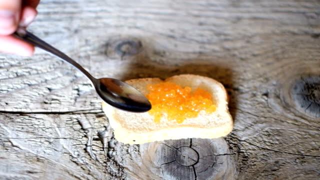 Sandwich with caviar video
