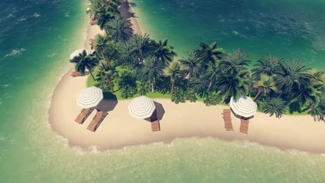 Sandy beach on a heart shaped tropical island video