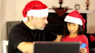 Santa And Elf Buying Christmas Gifts Online video
