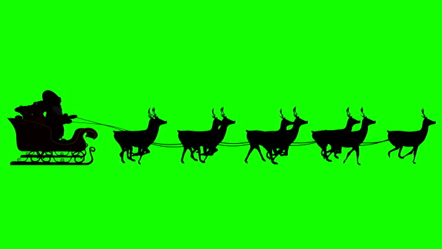 Santa and his sleigh flying against green screen background loopable video