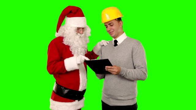 Santa Claus and Young Architect, Green Screen video