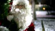 Santa Claus appearing from behind a tree. video
