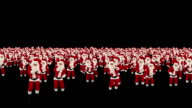 Santa Claus Crowd Dancing, Christmas Party, against black video