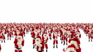Santa Claus Crowd Dancing, Christmas Party camera fly over, against white video