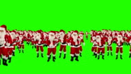 Santa Claus Crowd Dancing, Christmas Party Earth Shape, Green Screen video