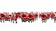 Santa Claus Crowd Dancing, Christmas Party Happy New Year Shape, against white video