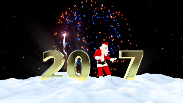 Santa Claus Dancing 2017 text, Dance 2, winter landscape and fireworks video