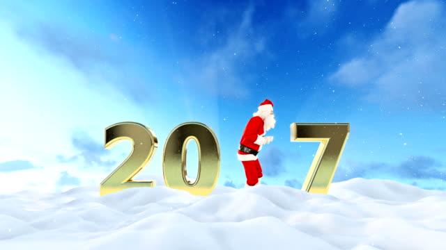 Santa Claus Dancing 2017 text, Dance 3, beautiful winter landscape video