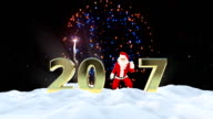 Santa Claus Dancing 2017 text, Dance 5, winter landscape and fireworks video
