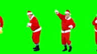 Santa claus dancing and performing various activity video