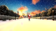 Santa Claus Dancing on a park alley, snowing video